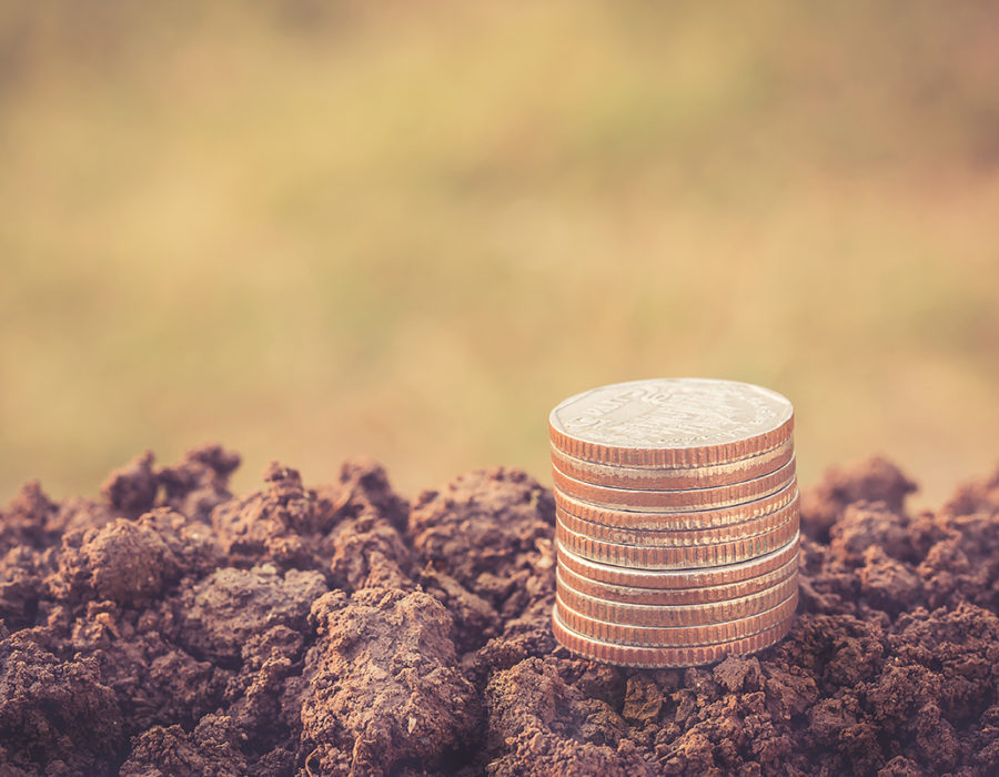 Silver coins are stacked on a freshly plowed field.